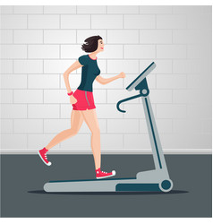 young woman is running on a treadmill indoor vector image