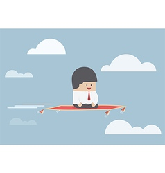 Businessman sitting on the flying carpet vector image