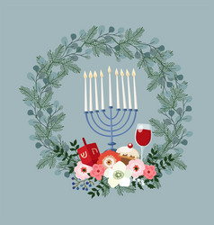 happy hanukkah greeting card invitation with hand vector image vector image