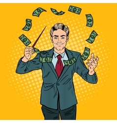 Pop Art Businessman Conducts Money with a Baton vector image