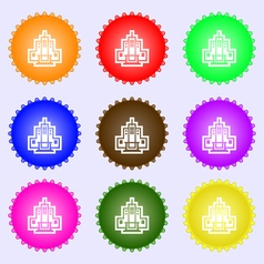 skyscraper icon sign A set of nine different vector image vector image