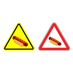 Warning attention hot dog sign Dangers yellow vector image vector image