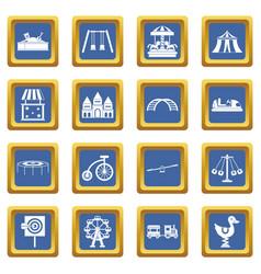 amusement park icons set blue vector image