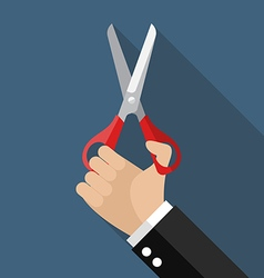 Hand holding a pair of scissors vector image vector image