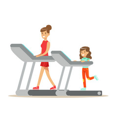 smiling woman and girl running on a treadmill mom vector image