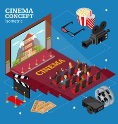 Cinema concept movie interior auditorium isometric vector