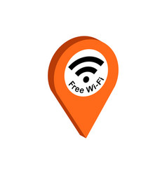 Map pointer with wi-fi symbol flat isometric icon vector