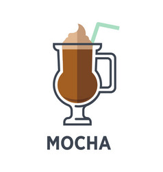 mocha chocolate-flavored variant of latte isolated vector image vector image