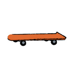 orange skateboard board sport element vector image