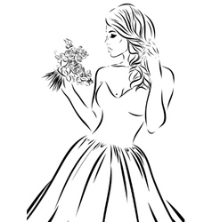 Wedding scetch Bride on a white background vector image vector image
