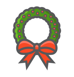 christmas wreath with bow filled outline icon vector image