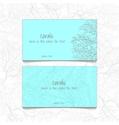 Coral blue design horizontal business card vector