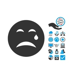 Cry Flat Icon With Bonus vector image vector image