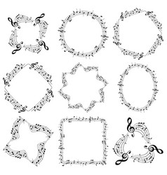 decorative music frames with notes - oval square vector image