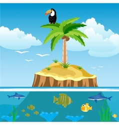 Desert island and undersea world vector image vector image