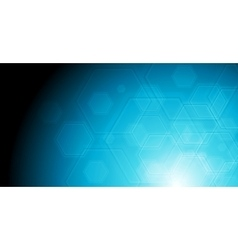 Geometric hexagon elements on blue background vector image vector image