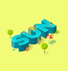 isometric of pool in the form of sign sun vector image