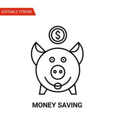 money saving icon thin line vector image