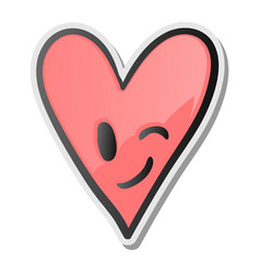 winking heart sticker emoji smiling face emoticon vector image vector image