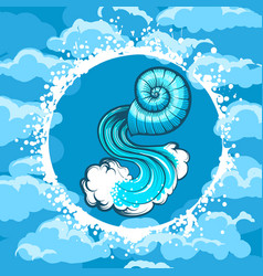 zodiac sign of aquarius in air circle vector image vector image