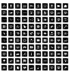 100 computer icons set grunge style vector