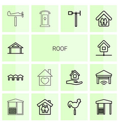 14 roof icons vector image