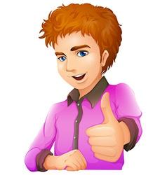 A handsome man wearing a purple longsleeve vector