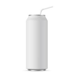 aluminium can mockup 500 ml with straw mockup vector image