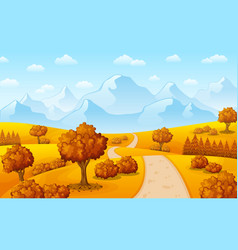 autumn landscape with mountains and trees vector image