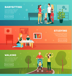 Babysitting children banners set vector