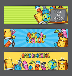 Back to school kawaii banners with cute education vector