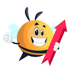 bee holding red arrow on white background vector image