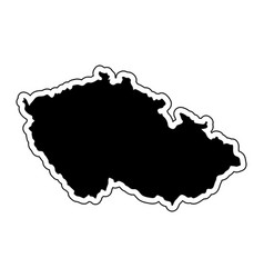 black silhouette of the country czech republic vector image