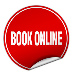 book online round red sticker isolated on white vector image