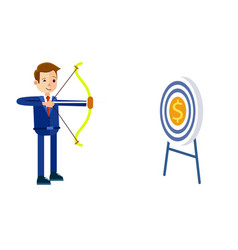 Businessman hits target with bow vector