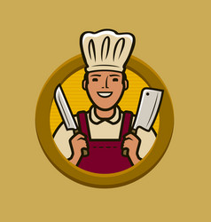 butcher shop logo or label chef with knives vector image