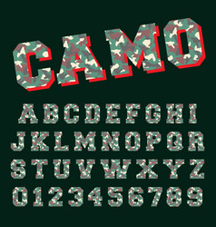 camo alphabet font template letters and numbers vector image
