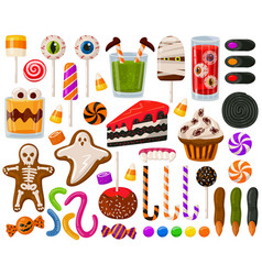 cartoon halloween candies halloween sweets vector image