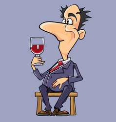 Cartoon man in a suit and tie wine tasting vector