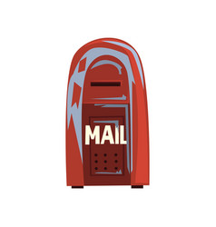 Cartoon style icon of old shabby mailbox red vector