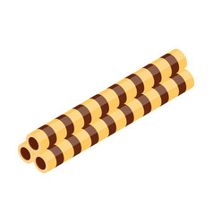 Crispy wafer sticks with chocolate or cocoa vector