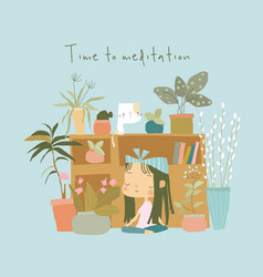 cute girl doing yoga and meditation at home vector image