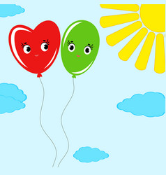 cute smiling isolated colored balloons on a blue vector image