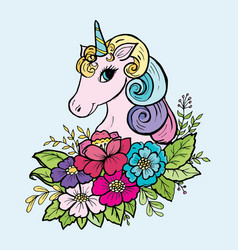 doodle cute unicorn in colors color vector image