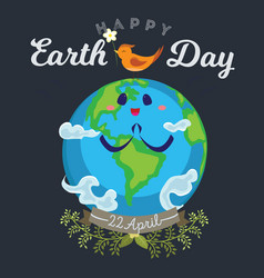 earth day happy planet surrounded by clouds looks vector image