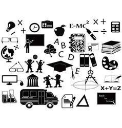 Education black icon set vector