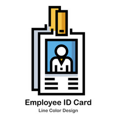 Employee id card line color icon vector