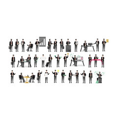 european businessmen isolated big set vector image