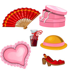 Fan shoes perfume hat jewelry box cushion vector