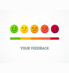 Feedback line from positive to negative emoticon vector